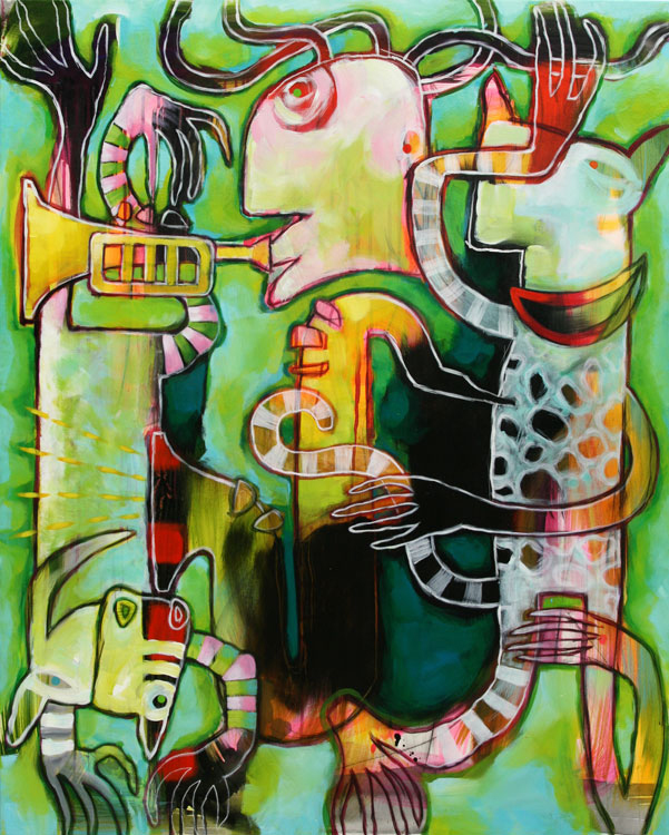 Groent figuristisk akrylmaleri af Terese Andersen