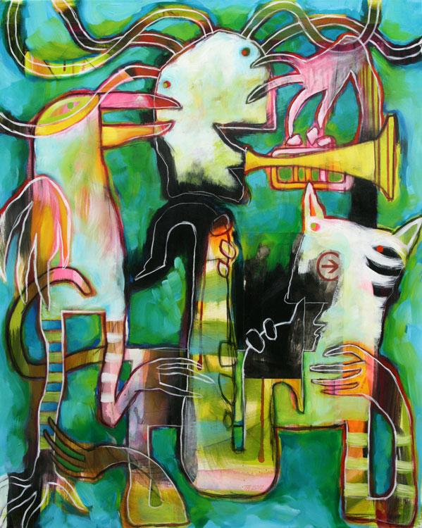 Blaagroent figuristisk akrylmaleri af Terese Andersen