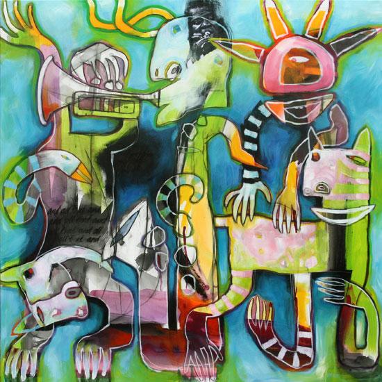 Blåt akrylmaleri med figuristisk motiv