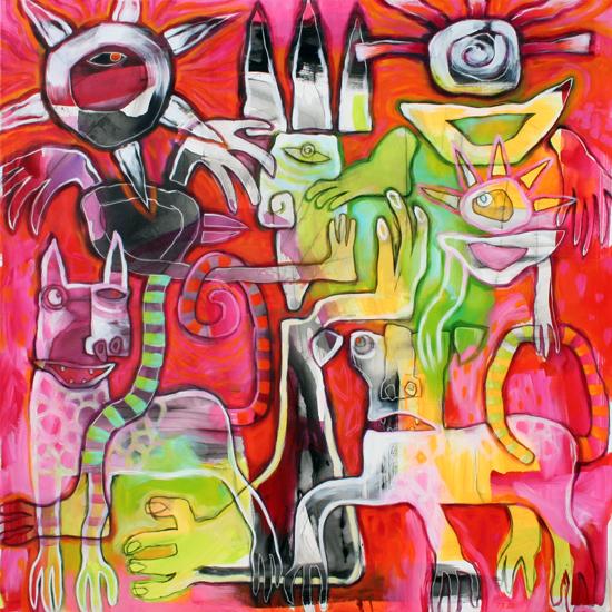 Rødt akrylmaleri med figuristisk motiv