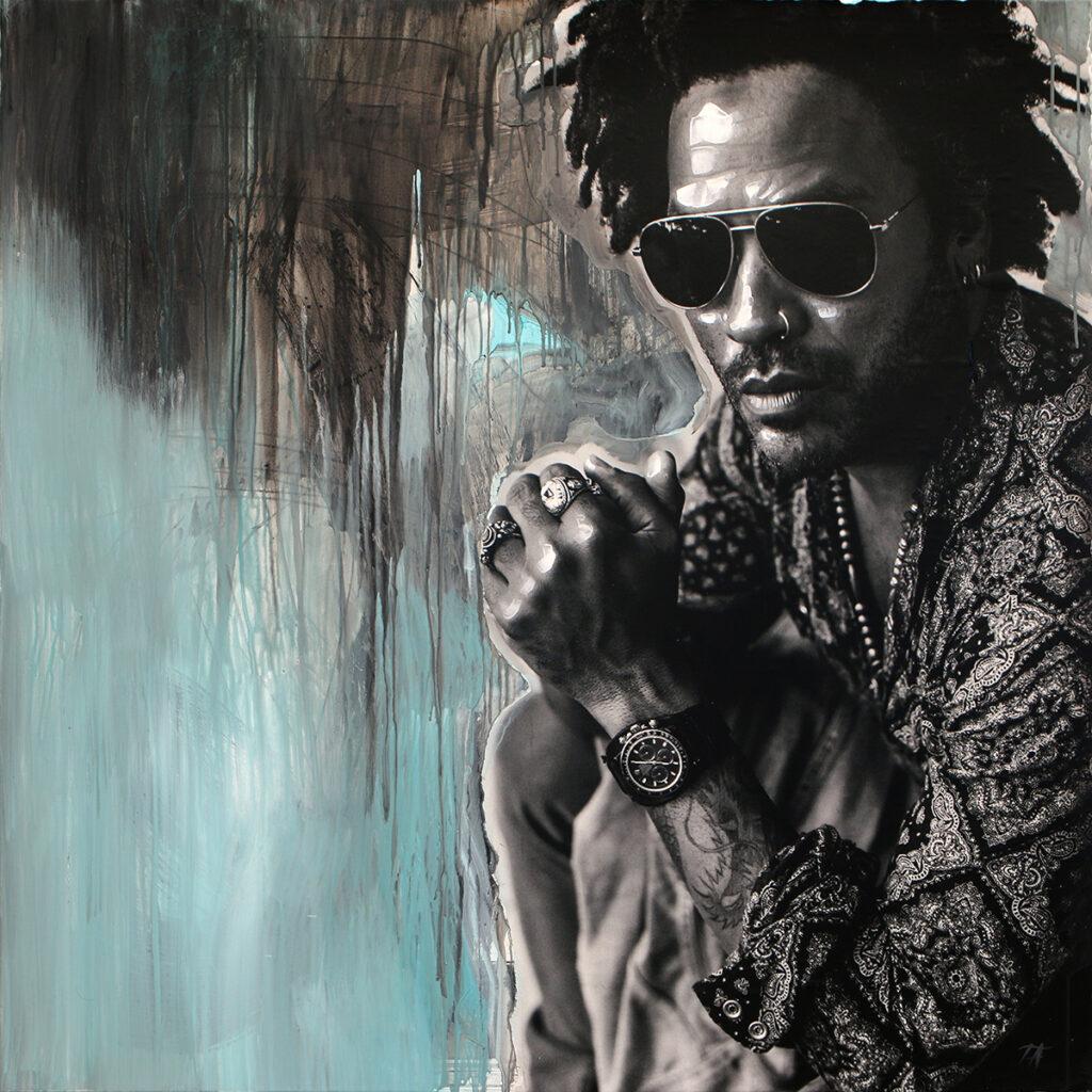 Foto af Terese Andersen Painting 120x120cm Lenny Kravitz 1