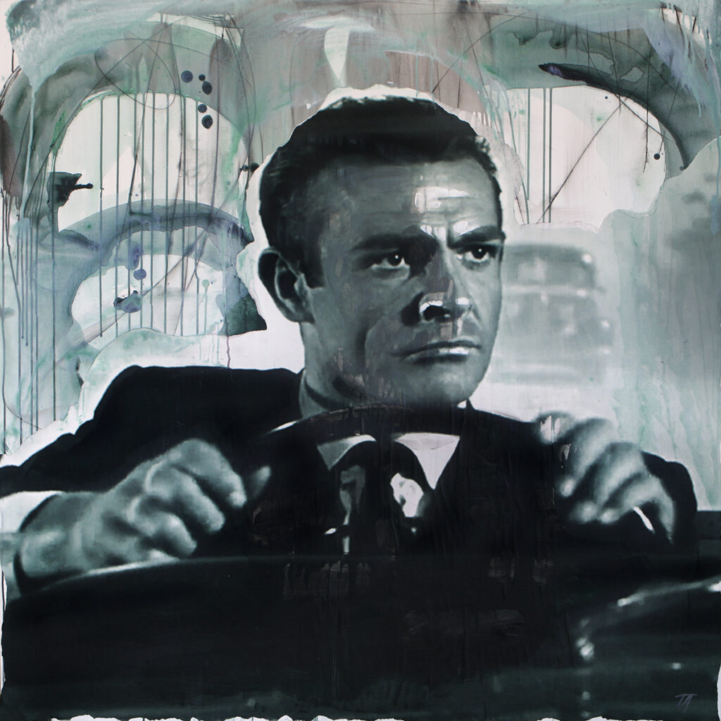 Foto af Terese Andersen Painting 130x130cm Sean Connery Dr No car race 1