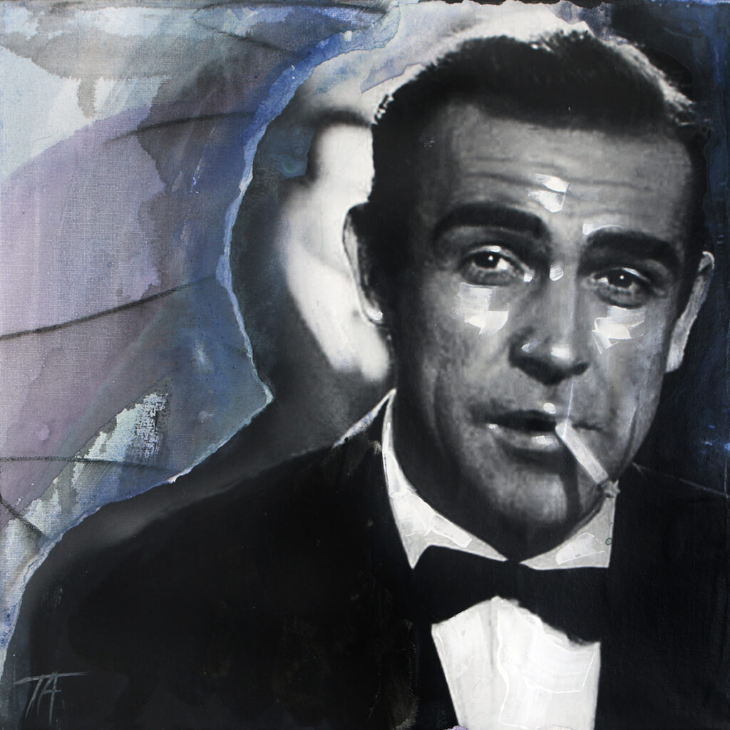 Foto af Terese Andersen Painting 40x40cm Sean Connery Dr No cigaret 1