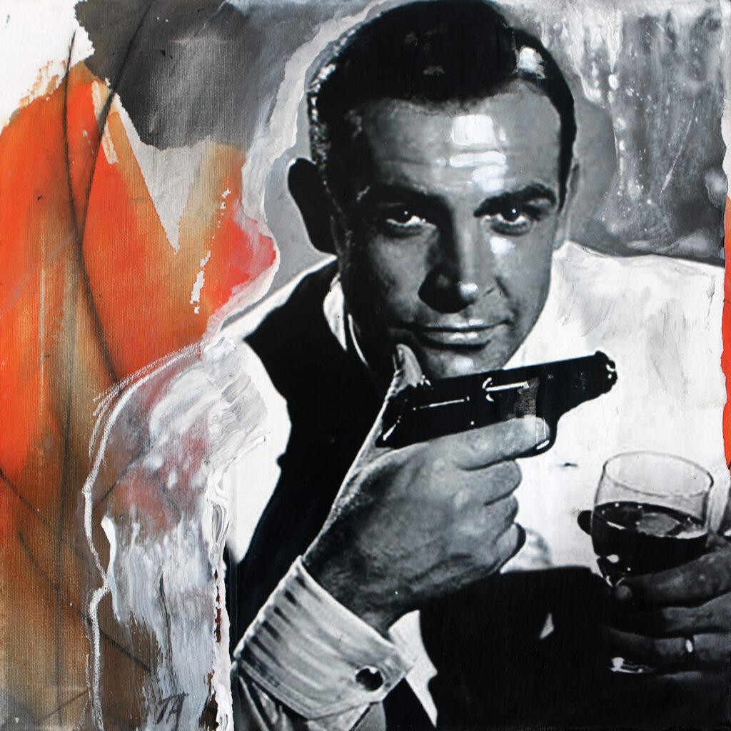 Foto af Terese Andersen Painting 40x40cm Sean Connery Dr No gun drink 1