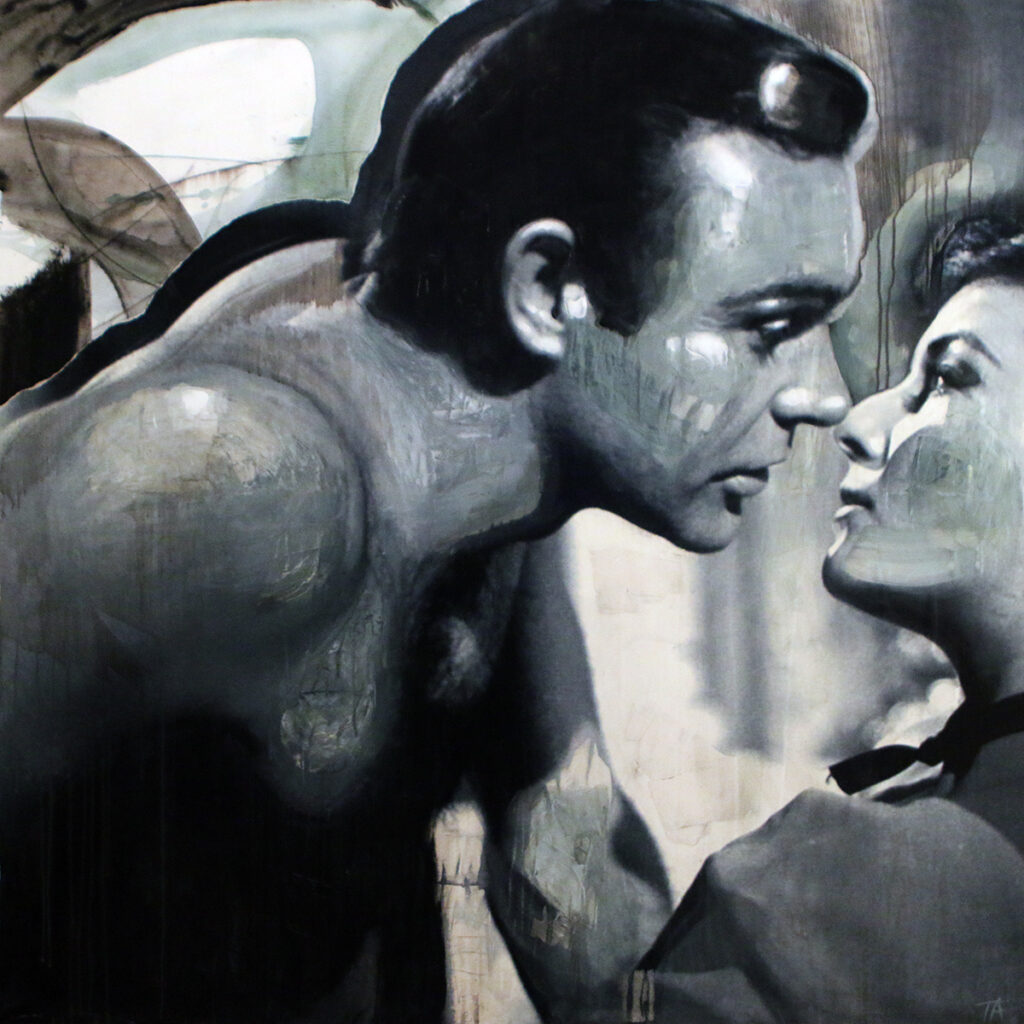 Foto af Terese Andersen Painting 120x120cm Sean Connery Daniela Bianchi From Russia With Love 2