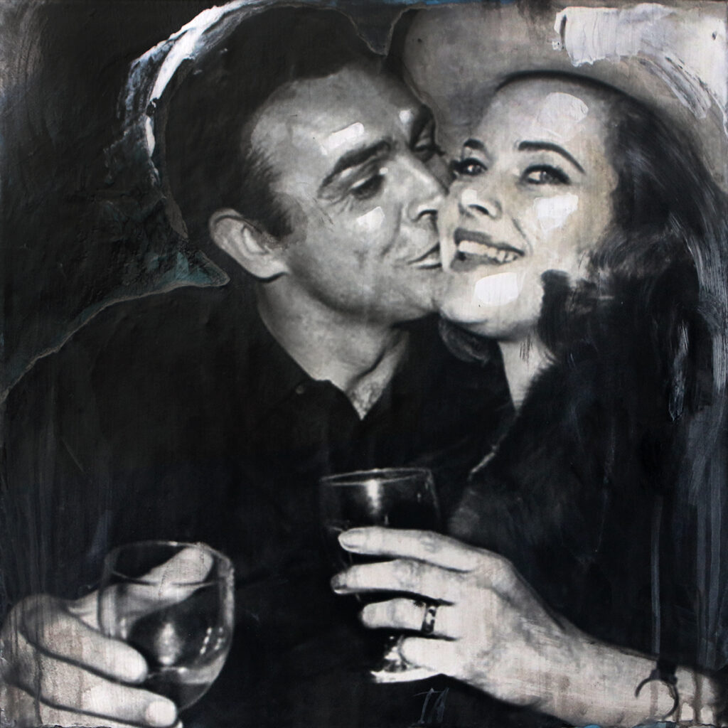 Foto af Terese Andersen Painting 40x40cm Sean Connery Honor Blackman Goldfinger 1