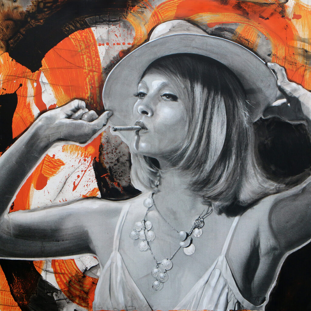 Foto af Terese Andersen Painting 130x130cm Bonnie and Clyde Faye Donaway 1