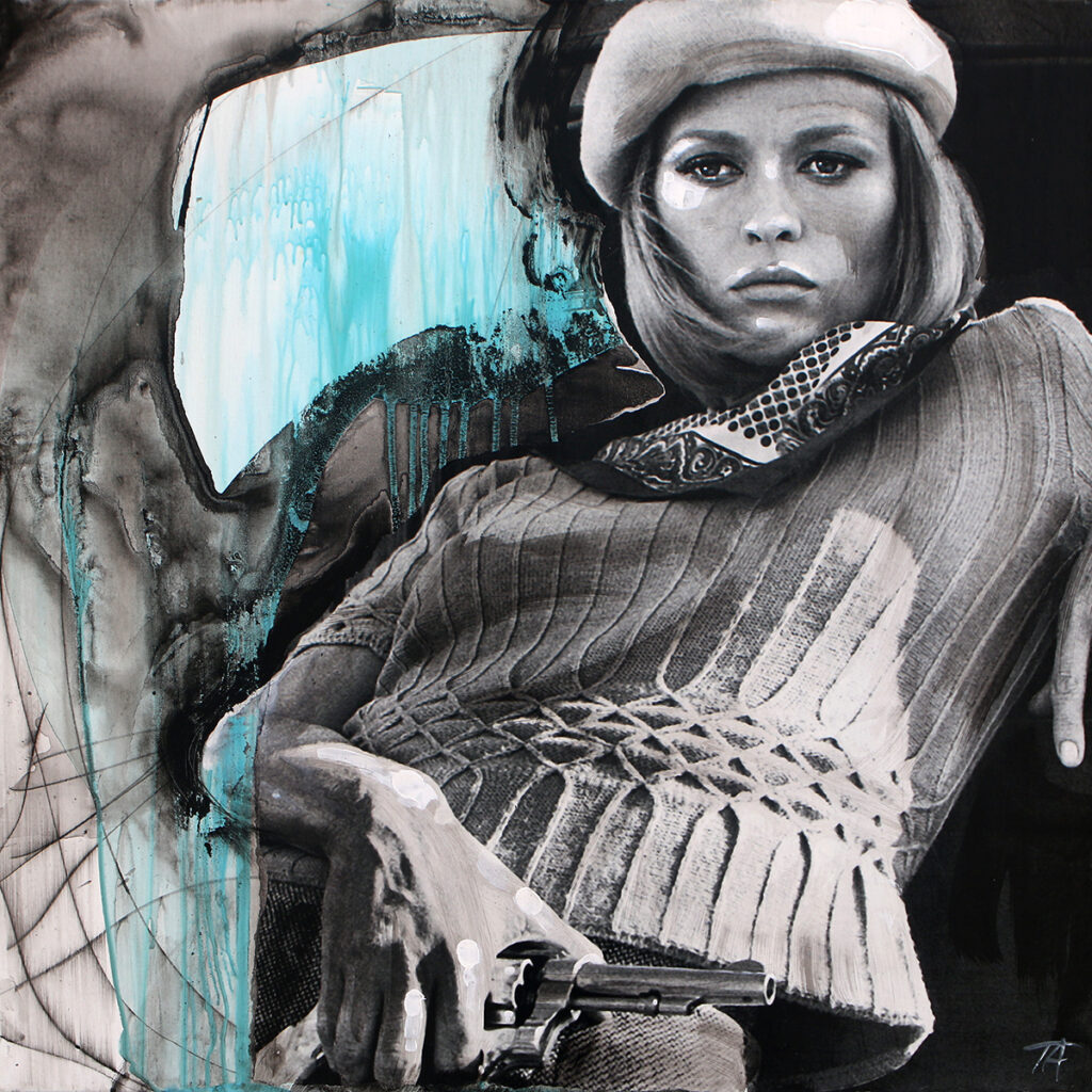 Foto af Terese Andersen Painting 80x80cm Bonnie and Clyde Faye Donnaway 2