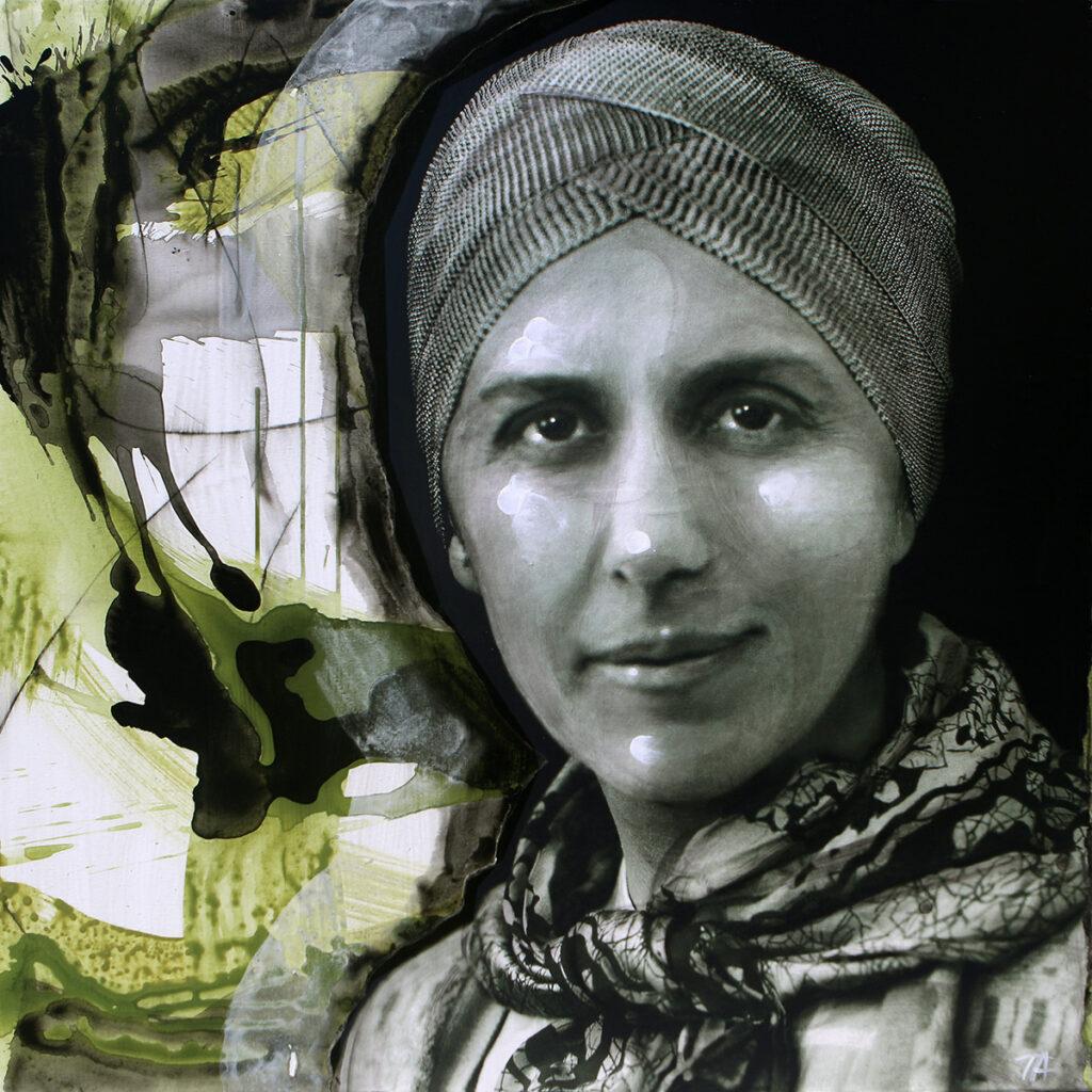 Foto af Terese Andersen Painting 100x100cm Karen Blixen 1
