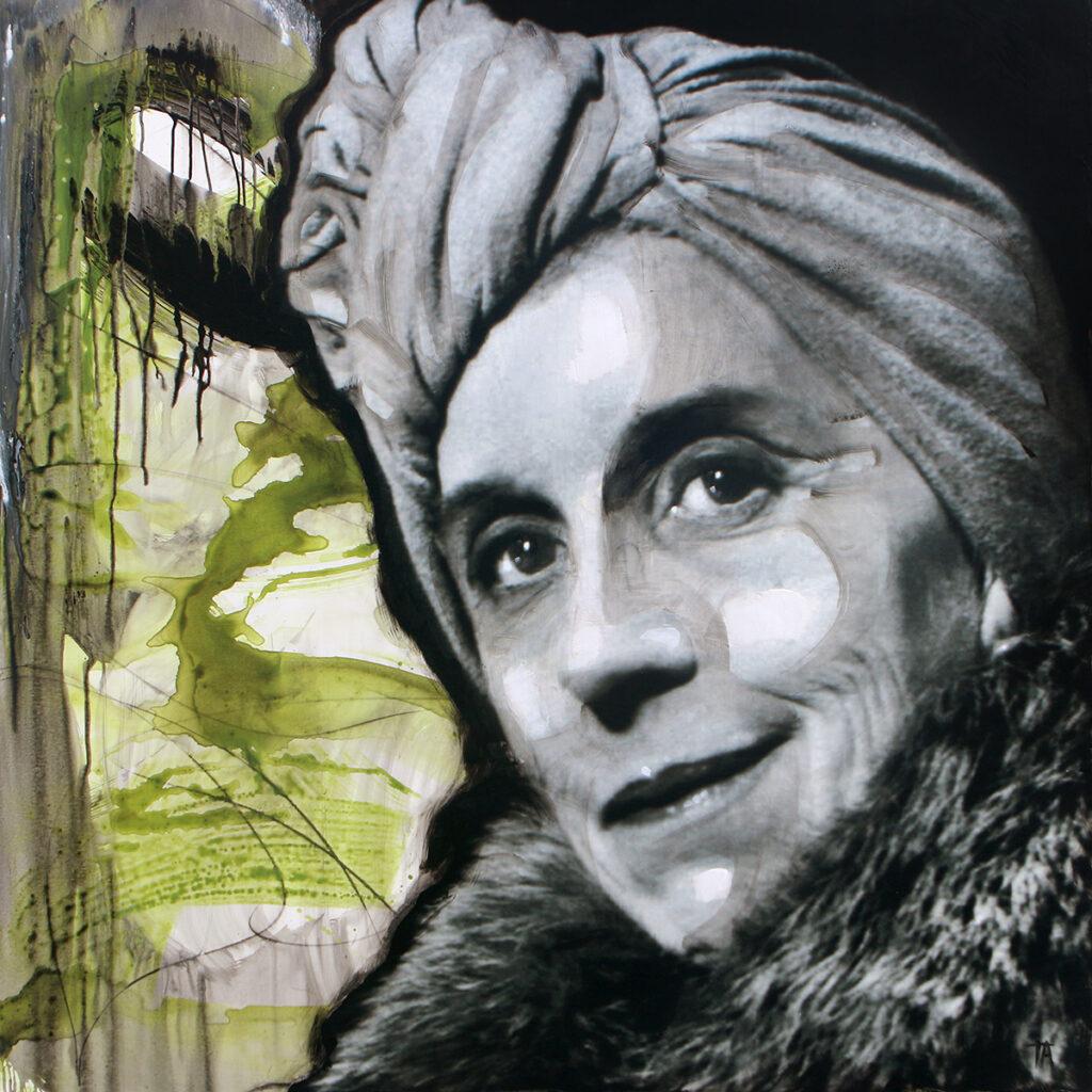 Foto af Terese Andersen Painting 130x130cm Karen Blixen 2